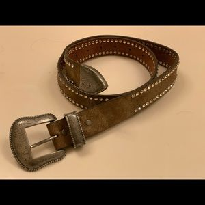 Western tan leather blingy belt